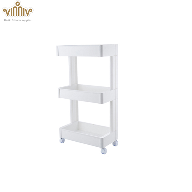 3F kitchen storage organizer removable plastic corner <strong>shelf</strong> with wheels