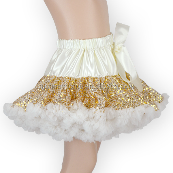 2016 new style golden sequin baby girls pettiskirts for party,ruffle kids tutu skirt M6032901