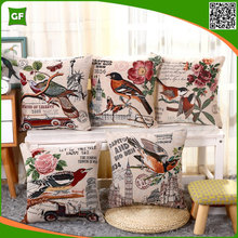 Faux Linen Fancy Birds&Floral Home Decor Embroidery Sofa Cushion Cover