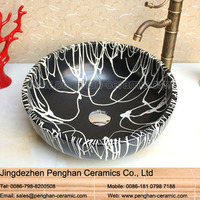 China traditional handmade art Tempered ceramic Basin Bathroom Vanity