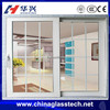 China top brand no distortion pvc/upvc profile tempered glass sliding door iron grill design