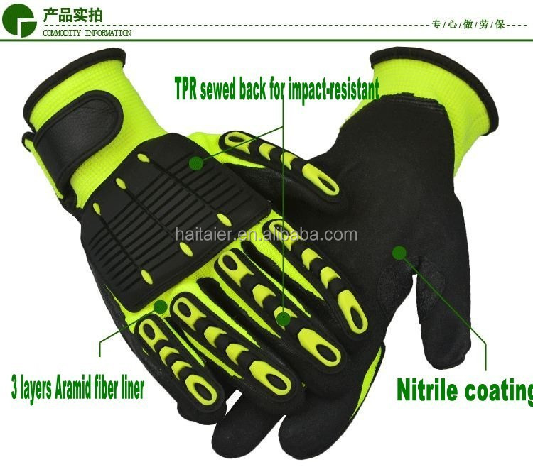 HTR nitrile coated anti-cut impact mechanical glove