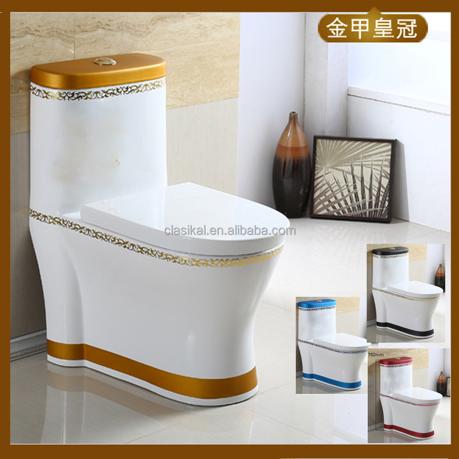New design gold color bathroom wc toilet prices