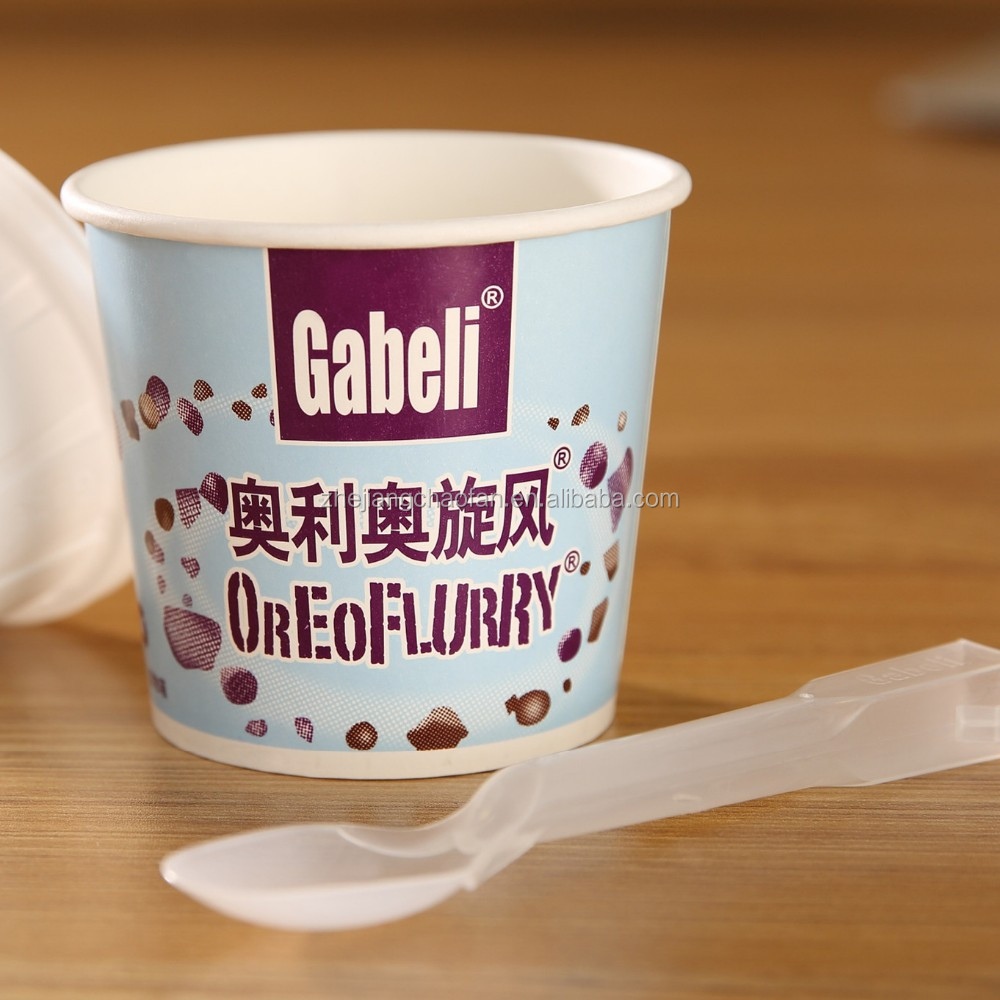 Take away yogurt packing paper cups with spoon and logo printed