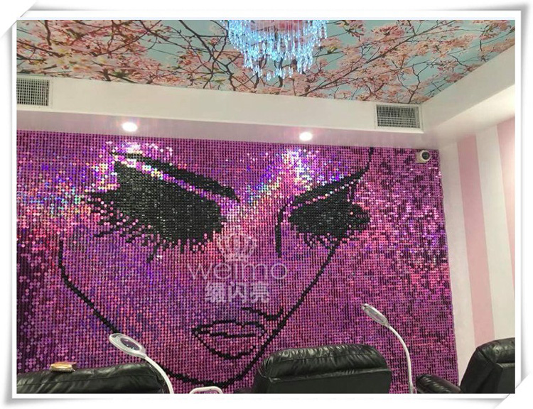 2018 shimmer Shiny Sequin panel wall design