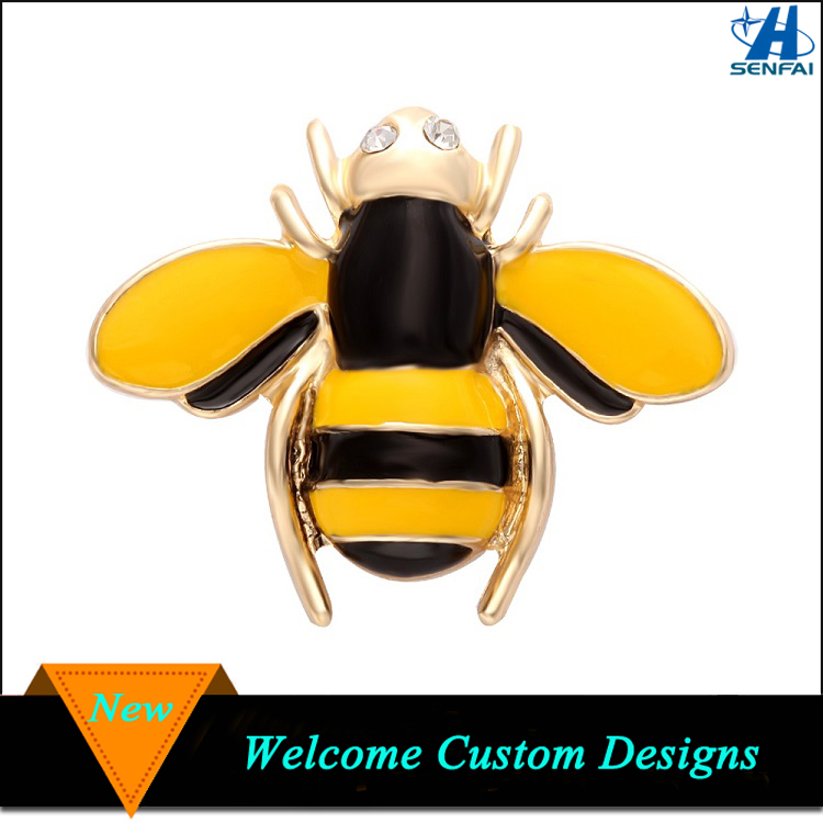 China Wholesale Lovely Zinc Alloy Yellow and Black Enamel Bee Pins Brooch For Gifts