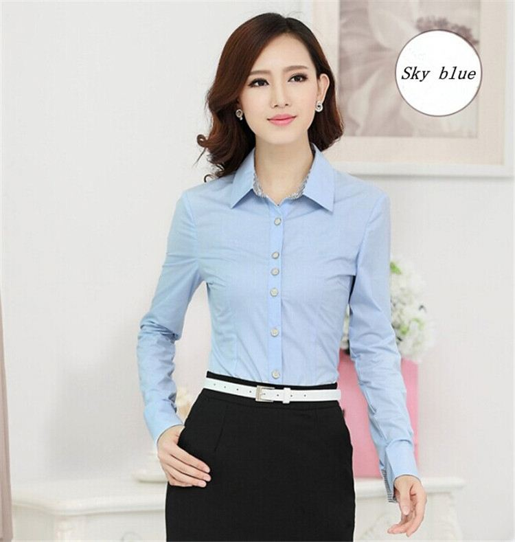 TOP SALE simple design lady office shirt on sale