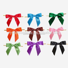Wire twist tie pre made gift ribbon bow for decoration
