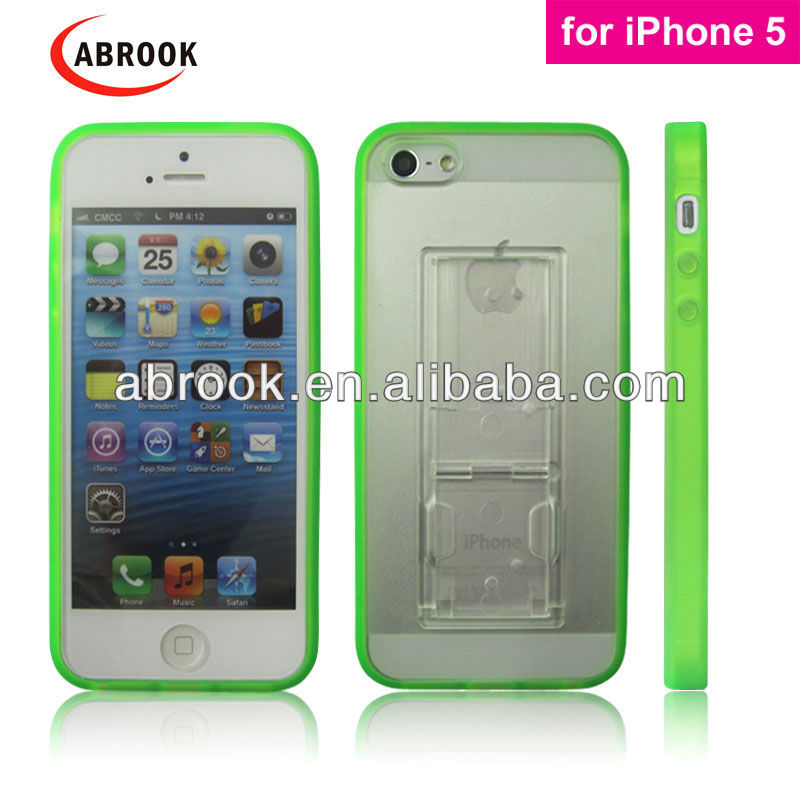 Multi-colors smart cover case for iphone 5 with stand and clip