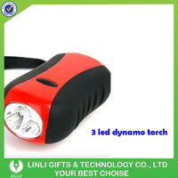 3 led hand crank heavy duty led torch light