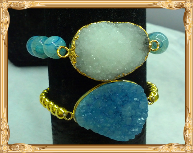 LS-L3083 white druzy bracelet ,blue drusy bracelet with gold beads wholesale Hot selling!!!