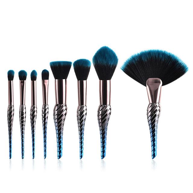 8/10pcs Makeup Brushes Set Rainbow Conch Shaped Professional Face Eye Foundation Powder Contour Eyeliner Make Up Brushes Kit
