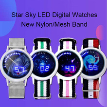2018 New Nylon Mesh Band 60 Lights LED Digital Watches Fashion Design Women And Men White And Blue Light Star Sky Watches