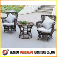 Modern PE rattan garden chair and top glass dining table outdoor furniture