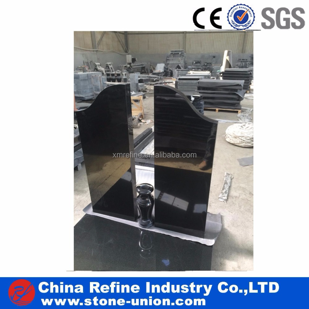 Simple Design Factory Customized Polished Black Granite Tombstone