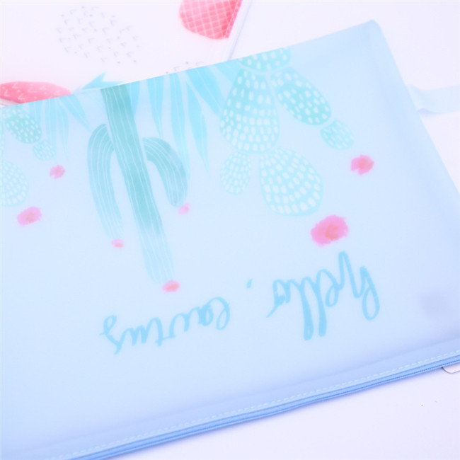 Most popular 2019 office supplies and stationery promotion cartoon cactus and flamingos zipper a4 document file folder bag 321