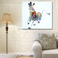 Cartoon Funny zebra cute animal abstract canvas wall painting for kid room decor oil painting on canvas