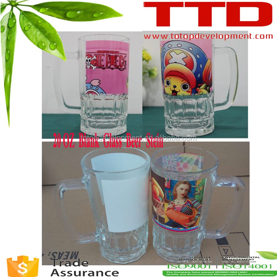 22 oz sublimation coated glass beer mug/beer glass/beer Stein , blank for mug machine printing