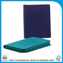 polyester book zipper cover, zip leather cover book
