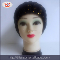 hat manufacturer 100%acrylic with foil crochet beanie hat