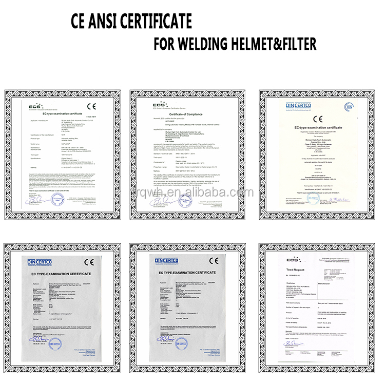 Certificate for welding helmet