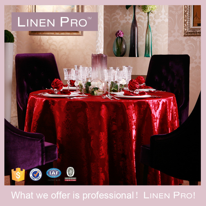 LinenPro Wholesale Red Sequin Tablecloths 120 inch Round