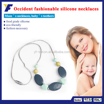 wholesale fast delivery silicone chewable beads necklace baby teething necklace for mom