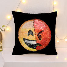 Funny face design sequin pillow cover emoji ICTI factory