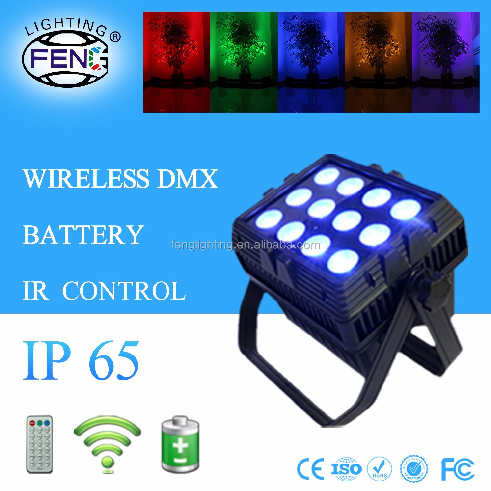 2017 hot product 12pcs rgbwa+uv 6in1 par can outdoor flat par led waterproof par lights with rechargeable battery