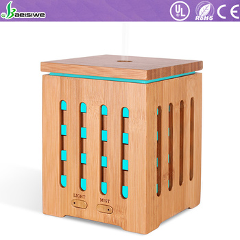 Mist maker 7 color led light ultrasonic humidifier aromatherapy essential oil aroma real bamboo diffuser