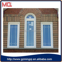 guangzhou cheap white pvc fixed panel window with gill design