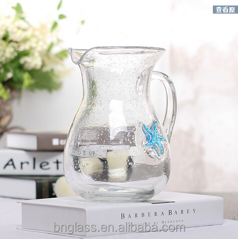 Glass Bubble Pitcher with sea star