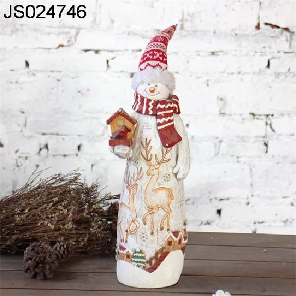 Terracotta Snowman decor with fabric cap, 2016 New Christmas decoration