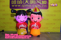 inflatable girl and boys cartoon for wedding decoration C-199