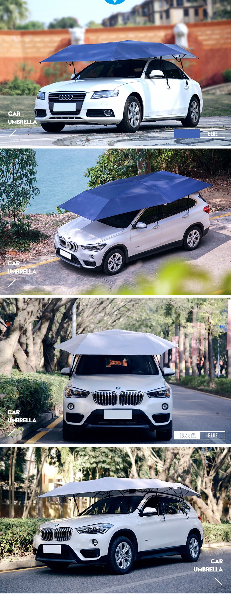 2018 Newest Promotional waterproof shading folding portable automatic car cover protection umbrella for cars