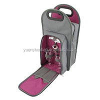 two bottle tote wine cooler bag with front pocket
