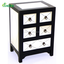 Handmade Black Diamond Mirror Chest with double 2 narrow drawers