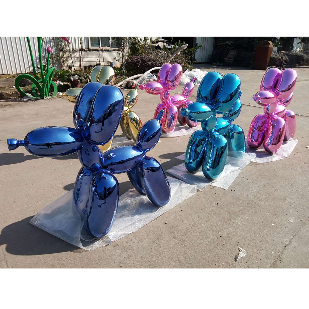 Contemporary art abstract metal stainless steel for home decoration pink color balloon dog sculpture