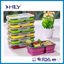 Customized Silicone Food Storage Containers For Kids,Save Space Silicone Lunch Box Collapsible
