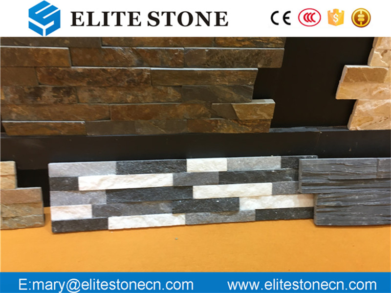 Split Surface 3D Black Quartzite Culture Stone Wall Tile for Background Wall