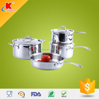 Hot selling 7pcs triply stainless steel cookware set