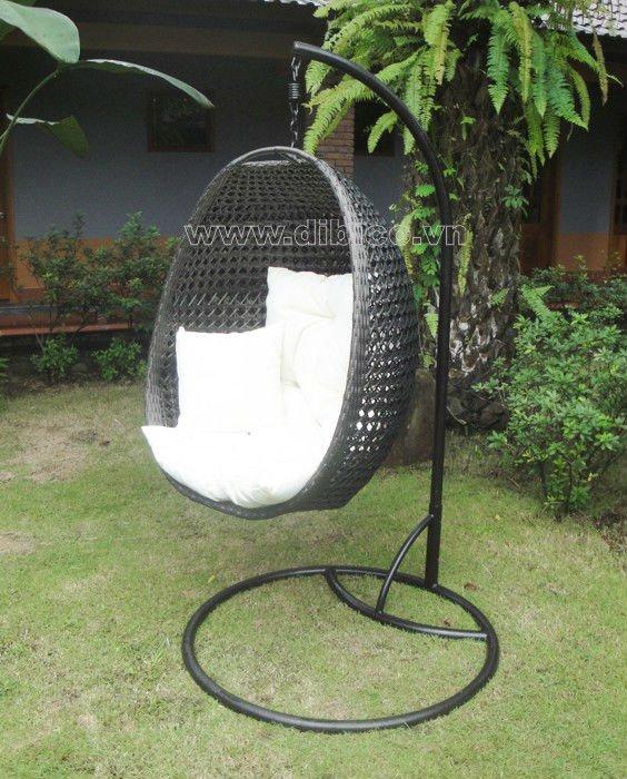 New Design Pe Rattan Hanging Egg Chair Outdoor Pe Wicker Hanging