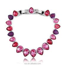 OUXI drop water theme platinum plated alloy&Austria Crystal beaded bracelet 30012