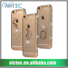 Cell phone accessory bling rhinestone transparent electroplate tpu cover case for iphone 5s