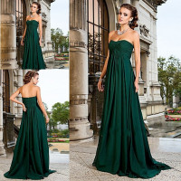 Free shipping cost!Gemstone emerald green a line sweetheart ruffles chiffon bridesmaids dresses