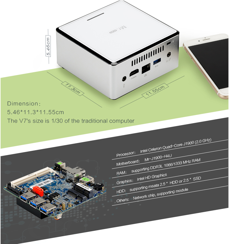 Realan Mini pc i5 processor integrated Graphics,remote mini desktop support win7 and linux