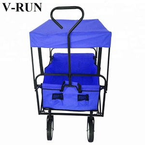 collapsible folding beach wagon utility garden shopping trolley cart with removable roof