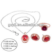 Lady Red Zircon 925 Sterling Silver Jewelry Factory Wholesale