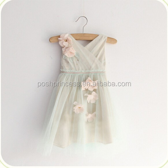 High Quality Cotton Lining Tulle Layered Flower Girl Dress