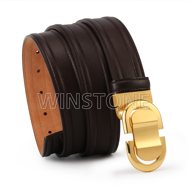 Brown color leather belt with gold buckle